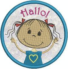 lollikids Stickdatei Hallo Kindergarten Freundin   von lollikids auf DaWanda.com