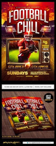 Football and Chill Flyer - Sports Events Print Design, Web Design, Logo Design, Graphic Design, Event Flyer Templates, Flyer Design Templates, Beer Specials, Flyer Design Inspiration, Sports Flyer