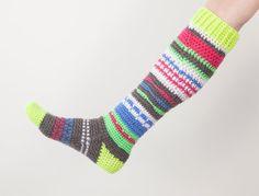 Knee-High Hippie Socks CROCHET Pattern Women's by MSDesignPatterns