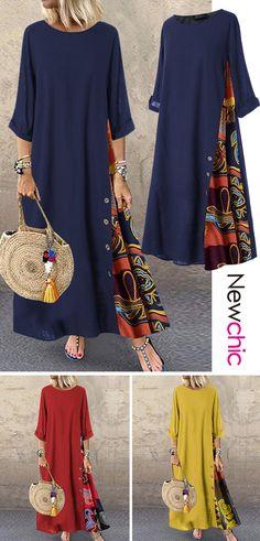 Mode inspo – Boho style Patchwork Print Button Plus Size Dress Top Fashion, India Fashion, Fashion 2020, Plus Size Fashion, Girl Fashion, Womens Fashion, Fashion Trends, Japan Fashion, Muslim Fashion