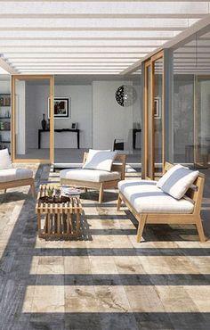 Sol terrasse : 20 beaux carrelages pour une terrasse design Floor look tiles: when the terrace takes Terrasse Design, Balkon Design, Outdoor Spaces, Outdoor Living, Outdoor Decor, Exterior Design, Interior And Exterior, Terrace Floor, Teak Outdoor Furniture