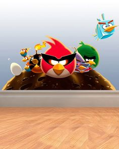 Angry birds bedroom on pinterest angry birds bedroom for Angry bird wall mural