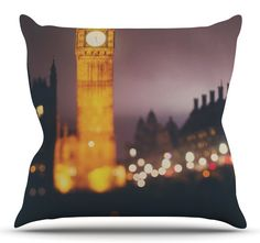 Westminster at Night by Laura Evans Throw Pillow