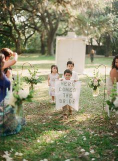 Here comes the bride sign. Photo: Lauren Kinsey