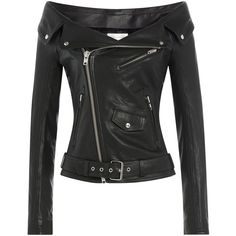 Faith Connexion Leather Jacket ($2,225) ❤ liked on Polyvore featuring outerwear, jackets, black, black zip jacket, pocket jacket, black leather jacket, slim jacket and real leather jacket
