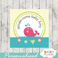 Printable pink whale baby shower Square Labels. Personalized as Favor Tags, Gift Bag Tags, stickers labels and more! #babyprintables