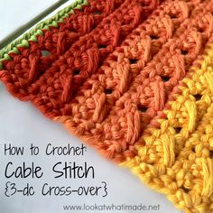 How to Crochet Cable Stitch How to Crochet: Cable Stitch ✿⊱╮Teresa Restegui http://www.pinterest.com/teretegui/✿⊱╮ crochet cable stitch, hook, crafti, crochet stitch, crochet cables, cable knit crochet, croisé, cabl stitch, httpwwwpinterestcomteretegui