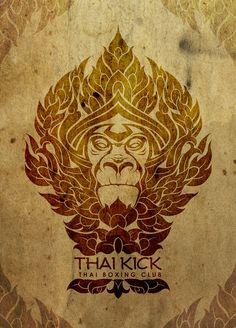 Logo muai thai monkey thai boxing Sak Yant thailand lotos fire