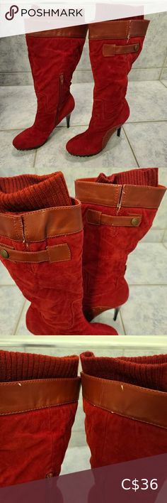 Bumper red boots tall size 8 Pet free smoke free home See pictures for wear signs Bumper Shoes Heeled Boots Red Boots, Tall Boots, Shoes Heels Boots, Heeled Boots, Ros Hommerson, Plus Fashion, Fashion Tips, Fashion Trends, Shoe Size Chart