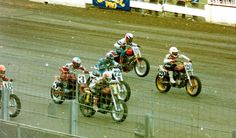 Here's some #ThrowbackThursday action of #18 Terry Poovey, #3 Ricky Graham, #1 Scott Parker , #72 Larry Pegram, #80 Rich King and Chris Carr on his #20 Harley-Davidson XR-750 during the Dash for Cash at the 1992 Labor Day running of the Springfield Mile!