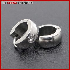 STAINLESS STEEL EARRINGS CARTILAGE CZ HUGGIE HOOP E4014