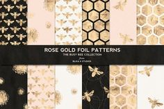 Busy Bee Rose Gold Digital Patterns by Blixa 6 Studios on @creativemarket