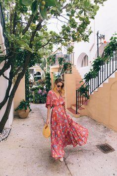 Vacation Maxi dress, wooden handbag, spring and summer style