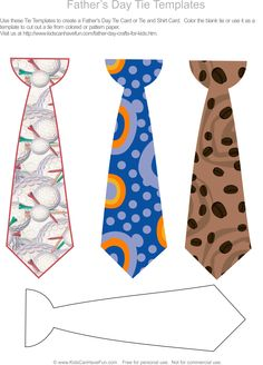 #fathersday tie templates for DIY cards and crafts http://www.kidscanhavefun.com/father-day-crafts-for-kids.htm #fathersdaygiftideas #fathersdaycrafts