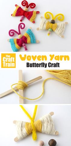 Yarn butterfly craft Make gorgeous woven yarn butterflies using this easy technique. This is a fun k Easy Yarn Crafts, Yarn Crafts For Kids, Animal Crafts For Kids, Spring Crafts For Kids, Bird Crafts, Butterfly Crafts, Craft Activities For Kids, Craft Stick Crafts, Toddler Crafts