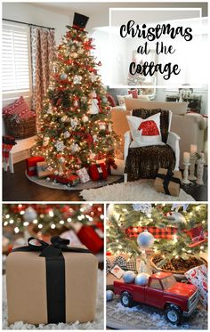 Christmas at the cottage. Top hat tree topper on red/black/white buffalo check plaid ornament filled Christmas tree