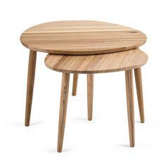 Oak Pebble Nesting Tables Nesting Tables, Mid Century Design, Solid Oak, Wood Grain, Sale Items, Scandinavian, Table Settings, Furniture, Home Decor