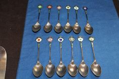 Set of 12 Whiting & Co. Art Nouveau Sterling Silver/Enamel Spoons