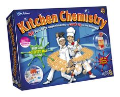 A kitchen chemistry set with 40 fun food experiments for children. Chemistry Gifts, Chemistry Set, Toys For Girls, Gifts For Boys, Kids Toys, Kitchen Chemistry, Childrens Kitchens, Food Experiments, Activity Mat