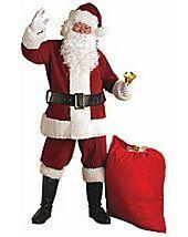 Adult Xxl Crimson Regal Plush Santa Suit - santa-claus-suits - christmas