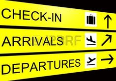 airport sign arrivals departure check in Stock Photo