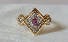 Vintage Estate 14K  Ruby Diamond Ring by EclairJewelry on Etsy, $195.00