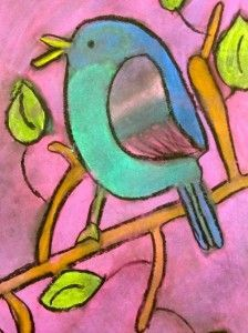 Chalk Bird Art Project. For 5th grade and above simply because of the chalk mess/dust factor.