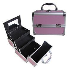 """BerucciTM Professional Pink 8"""" Lightweight Aluminum Makeup Artist Organizer Kit with 2 Extendable Trays, Aluminum Trimming, Lock and Keys, and Mirror"""