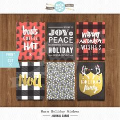 """*NEW* 3""""x 4"""" Warm Holiday Wishes Notes (2014) by Studio Pebbles #projectlife #decemberdaily #printable #gold #foil #plaid #buffalo #chalkboard #handwriting #brushscript"""