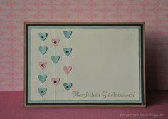 Stampin up- Hochzeitskarte - Herzen - selbst gemacht - Herz an Herz-Stanze
