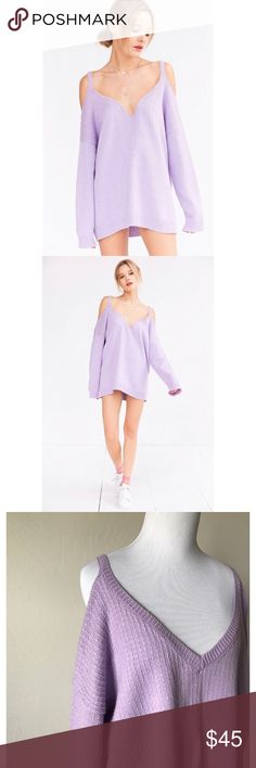 NWT Urban Outfitters Cold Shoulder Sweater Label is Kimchi Blue • Lavender ( darker in person)  • Originally $59 • SO comfy, very soft • Neckline is a normal V in person, stock photos have it taped weirdly. Urban Outfitters Sweaters