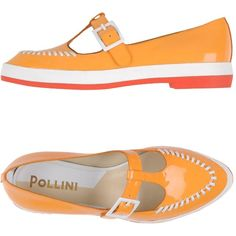 Pollini Loafer (415 MYR) ❤ liked on Polyvore featuring shoes, loafers, flats, orange, leather flats, orange loafers, orange shoes, buckle flats and flats loafers
