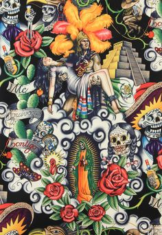 Alexander Henry Fabric Contigo Mexican Day Of the by voodoobetty, $23.42