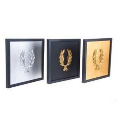 Handmade Wall or Table Laurel Wreath Set of 3 pcs, Gold & Silver Patinated, Framed 3d Wall Art, Framed Wall Art, Wall Art Decor, How To Make Ornaments, How To Make Wreaths, Crown Illustration, Laurel Wreath, Gold Background, Picture Logo