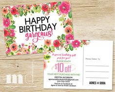 Agnes and Dora Birthday PostCard, Agnes & Dora Bday coupon voucher post card, Consultant Marketing Mailer Flyer in best floral design by MulliganDesign on Etsy