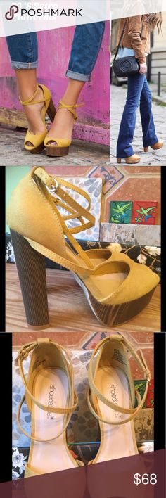 SHOEDAZZLE  WYLIE  MUSTARD COLOR RETRO PLATFORM  OH NO I DIDN'T ! YES....I am selling my brand new in the box never worn retro 70's platform heels.  I fell and had surgery on my leg, so, these will have to go to a new home. Ahhhh! They are so HOT 5 inch heel and 1 1/2 inch platform. Beautiful mustard color and wrap around ankle straps. True to size. NO OFFERS PRICE IS FIRM ! Shoe Dazzle Shoes Platforms