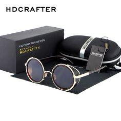 HDCRAFTER Brand 2017 Retro Vintage Steampunk Sunglasses Round Sun Glasses For Men/Women Unisex Eyewear Accessories #RetroMens