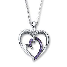 "Purple Diamond Necklace 1/6 ct tw Round-cut Sterling Silver | Note: ""Two hearts make one. You bring color to my life."""