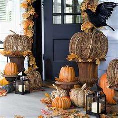 Fall porch decor from Pottery Barn