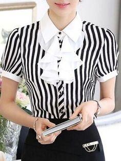 Small Lapel Chiffon Striped Falbala Blouse   fashionmia.com