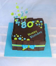 80th birthday cake....I like this it's playful and fun and the colors are cheerful......