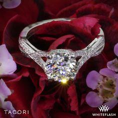 Tacori Ribbon-Twist Millgrain Diamond Engagement Ring.