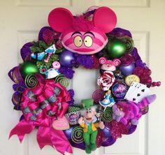 Alice in Wonderland Wreath | Cheshire Alice in Wonderland Wreath by SparkleForYourCastle, $225.00