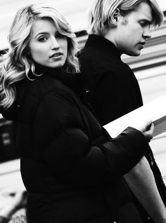 Dianna and Chord on-set. #FabrayXEvans #Glee