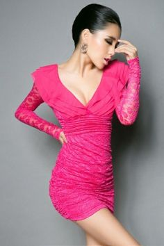 Morpheus Boutique  - Hot Pink Lace V Neck Ruffle Backless Ruched Banded Mini Dress, $69.99 (http://www.morpheusboutique.com/hot-pink-lace-v-neck-ruffle-backless-ruched-banded-mini-dress/)