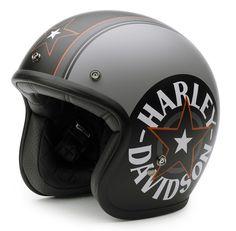 H-D Motorclothes Harley-Davidson Helm Grey Star Retro - Retro Motorcycle Helmets, Biker Helmets, Racing Helmets, Motorcycle Gear, Motos Harley Davidson, Cafe Racer Helmet, Cafe Racer Bikes, Bobber, Frames