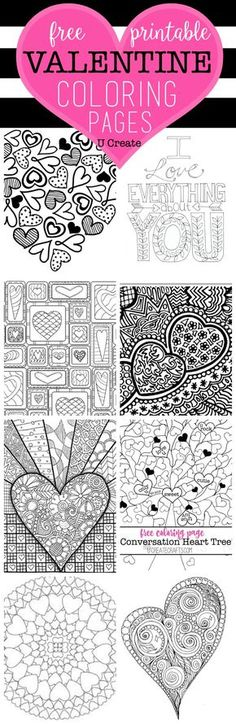 The Free Valentine Coloring Pages are here! You can't walk into a store without seeing those popular adult coloring books everywhere and you are sure to LOVE these pages. You can hang or frame your finished project to inspire you or add to your holiday decor! Conversation Hearts Coloring Page by U Create Quilted Heart Coloring …