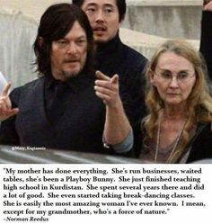 Norman on his mother.