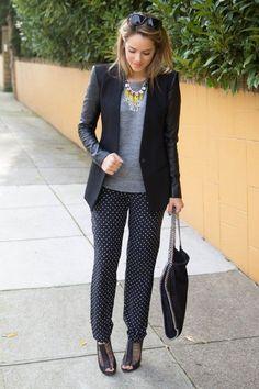work outfit inspiration: dot pants