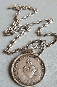 Antique French Sacred Heart of Jesus Silver Medal Necklace With Vintage ChainBlessed Virgin Mary Medal Necklace Vachette Catholic Religious by PinyolBoiVintage on Etsy